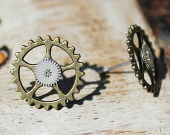 Steampunk Gear Earrings Stud