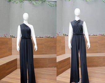 Black Long Infinity Jumpsuit, Maxi Bridesmaid Women Convertible Jumpsuit, Mother of the Bride Jumpsuit, Beach Boho Bridesmaid Rompers
