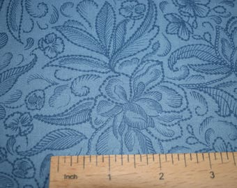 Blue Extra wide quilt backing fabric - Calla, 108 inch wide , 100% cotton, floral pattern fabric, quilting fabric, blue fabric, extra wide