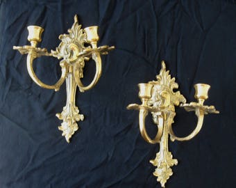 Handsome, Vintage, Brass Wall Sconces, Candle Holders - Holland