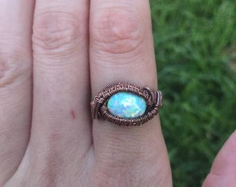 Wire wrapped synthetic opal ring
