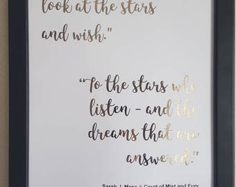 Sarah J. Maas Rhysand and Feyre quote print. Stars, wishes and dreams. Rose gold foil print.