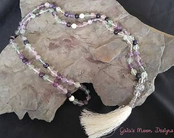 Fluorite & White Rammel Mala Prayer Beads
