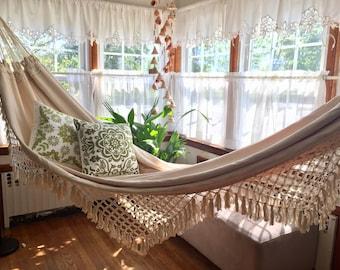 White Hammock, double size. Outdoor/indoor. Luxury woven, Hand Woven. Soft Cotton hammock Bell Fringe, wedding gift