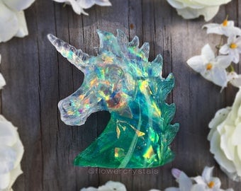 Unicorn Sculpture Turquoise and Green Opal Aura