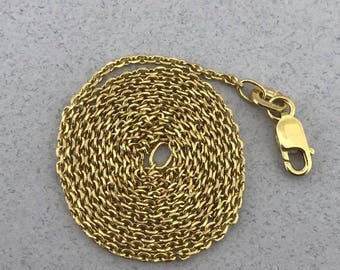 Stunning Solid 14k Yellow Gold Cable Link Chain Necklace! 18.5 Inches!