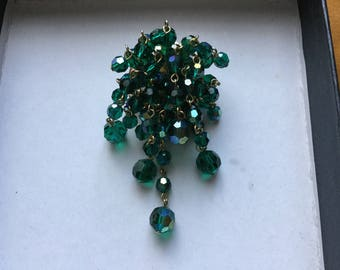 Vintage Wired Green Glass Bead, Cascade Pin Brooch