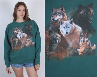 90s Wolf Sweatshirt // Vintage Slouchy Green Animal Pullover - Large