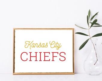 "Kansas City Chiefs Football Custom Print - 8"" X 10"" Printable Download Wall Art - Full Color"