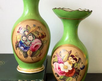 A Pair of Early 19th Century English Derby Green Vases
