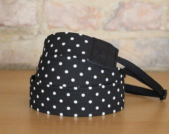 Camera strap, camera strap, DSLR, black, camera strap, belt, dots, Rockabilly