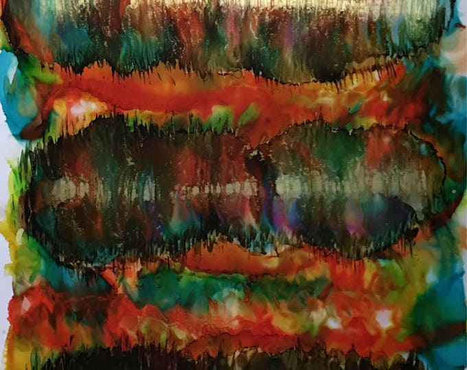 "Large Original Alcohol Ink Abstract: ""Three Strikes"" (23"" x 35"")"
