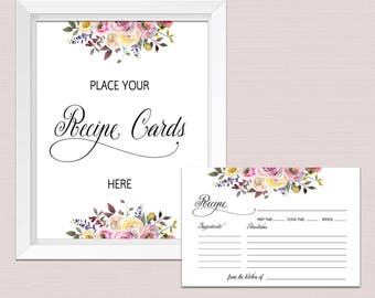 RECIPE CARDS for bridal shower, recipe cards 4x6, recipe cards printable, recipe card template, floral recipe cards sign download pdf BL2