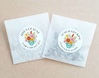 Personalised Seed Packet Favours Floral Weddings Baby Showers Bomboniere Bridal Bonbonniere Sunflower Daisy x 20