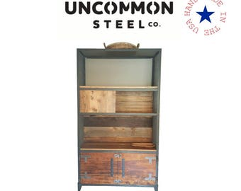 Industrial Bookcase, Industrial Bookshelf, Barn Wood Bookshelves, Reclaimed Wood Bookcase, Barnwood Shelving, Metal Bookshelf, Steampunk