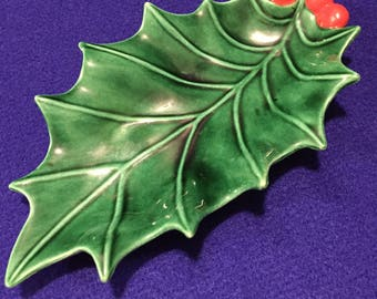 Ceramic Holly Leaf Candy Dish