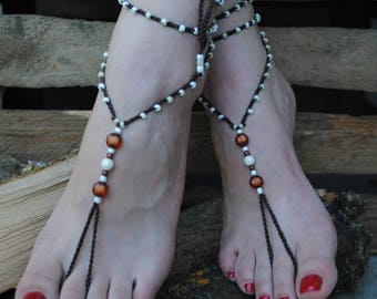 Barefoot Sandals, Brown Barefoot Beach Jewelry