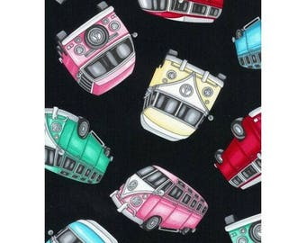 Cotton Fabric Quilting Timeless Treasures Bus VW Kombi
