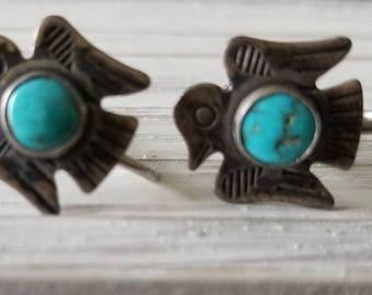 Vintage Silver/Turqouise Thunderbird Screw-Back Earrings
