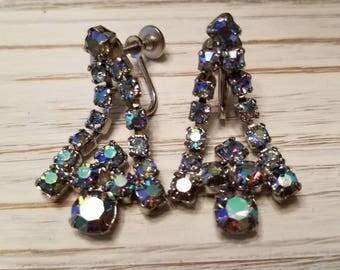 Ladies Rhinestone Dangle Screw-Back Earrings