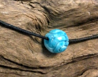 Hand Carved Larimar Bead.