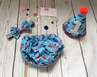1st birthday outfit, nappy cover set, bow tie and hat. Birthday bunting, birthday clothing set