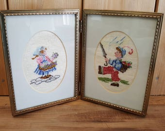 Vintage Girl and Boy Connected Pair of Embroidered Framed Tapestry Needlepoint Hand Woven Gold Tone Metal Frame Art Country Life