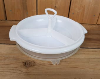 Vintage Tupperware White Party Platter Divided Sections Round Vegetable Tray Container with Lid Tupperseal Made in USA Mod Retro Kitchen