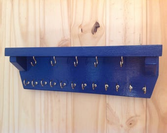 Wall Rack,key holder,leash holder,Jewelry rack,entryway organizer,necklace rack,gift for her,blue necklace display,wood jewelry display