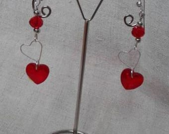 """Earrings """"double silver and Red hearts"""""""