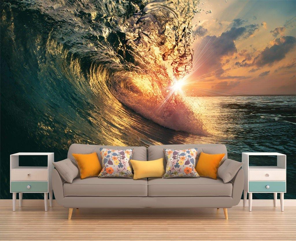 Water wall decor wave wallpaper beach sunset wall art wall details water wall decor wave amipublicfo Choice Image