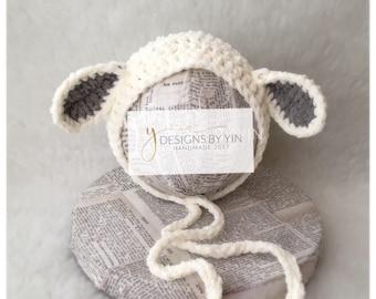 Newborn Baby Lamb, Sheep, Bonnet, Hat, Custom Made to Order