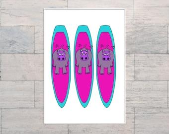 Surf Lover, Hippo, Surfboard Art, Colourful Surf Art, Whimsical Art, Printable, Instant Download, Digital Download, Multi Sizes, Digital Art