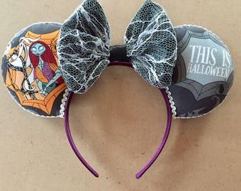 Jack Skellington inspired Mickey Ears, Halloween Mickey Ears, Halloween Minnie Ears, Mickey's No-So-Scary
