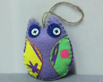 Little OWL or purple hanging felt owl, handmade