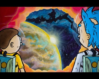 Rick and Morty in Anatomy Park - Acrylic Painting - Rick and Morty Poster / Fine Art Print