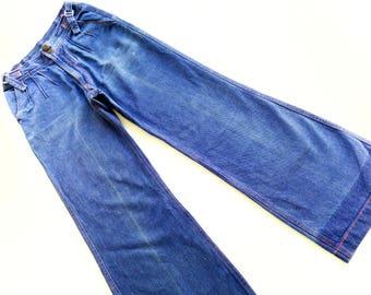 70s VinTage denim JeAns size XS S high waiSt pants SchlagHose 70's retro HipSter hippie