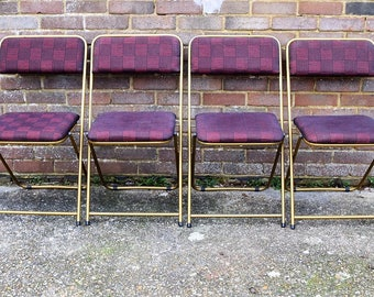 Rare Vintage Gold Lafuma French Folding Chairs/Retro Camping