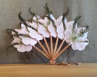 Leaves in pink satin, feathers, pearls, LEEF Fan