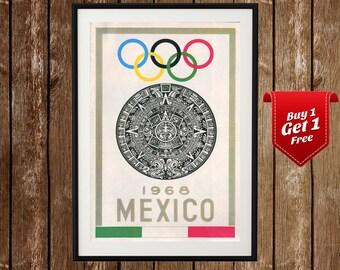 Mexico 1968 Olympics Vintage Poster - Mexico Olympics, Mexico Vintage Print, Mexico Olympic Games, Olympics Vintage Ad, Vintage Sport Poster