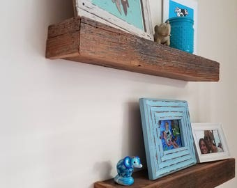 Set of 2 Floating barnwood shelves! Farmhouse shelves! Reclaimed Wood Shelves! Floating Shelves! Shipping included!!