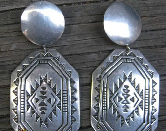 Navajo Earrings-Rug Pattern