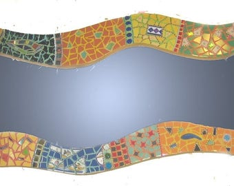 Mirror mosaic wavy and colorful-116 X 53 cm - ceramic shards of plates or other