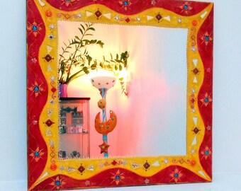 "large mirror ""Strawberry mango"" 85 X 85 cm"