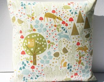Handmade woodland design multicoloured cushion (cushion pad included)