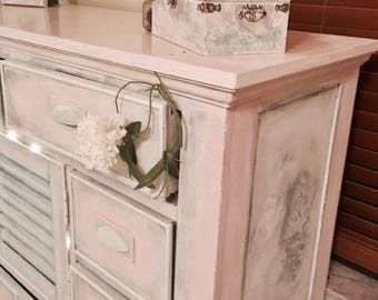 Cottage Chic Dresser_French Country Chest of Drawers_Antique Dresser_Shabby Chic Buffet_Annie Sloan Painted Furniture_Chalk Paint_Bedroom