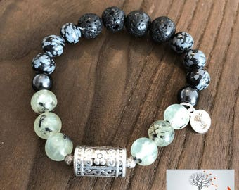 """Natural Stone Elastic Bracelet - """"Opening Doors to Love and Change"""" (Snowflake Obsidian, Hematite, Lava Rock, and Prehnite)"""