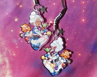 "Voltron Legendary Defender Princess Allura and Coran 1.5"" double sided transparent charm with space mice stars food and eating"