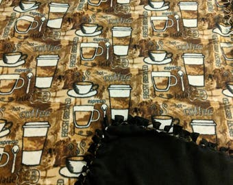 Coffee Anyone Fleece Tied Blanket