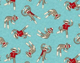 Sock Monkey Printed Fleece Tied Blanket